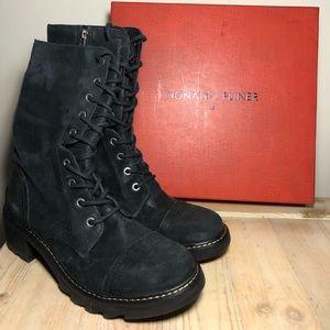 Donald J Pliner Black Combat Boots Size 9